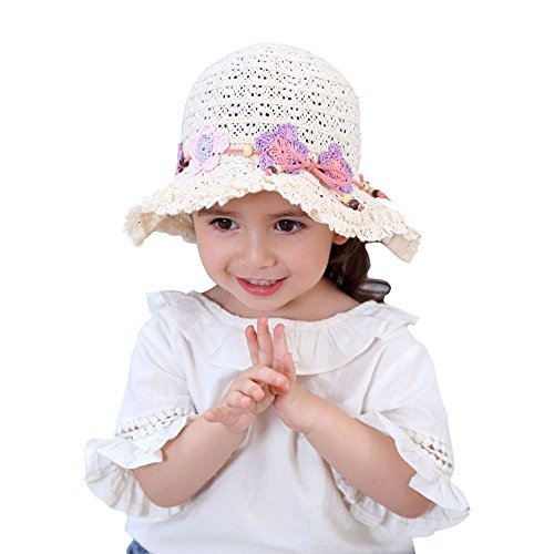 Toddler Kids Girl Summer Lace Sun Hat with Bow Child Floppy Beach Hollow Out Protection Breathable Cap (Crocheted Hats For Girls)