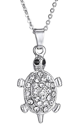 Turtle Pendant Necklace for Women Girl Plated Sterling Silver Crystal Jewelry Gift (Peridot Turtle)