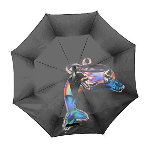 Reverse Folding Umbrella MaBe Dolphin Golf Umbrella with Reinforced Fiberglass Ribs ()