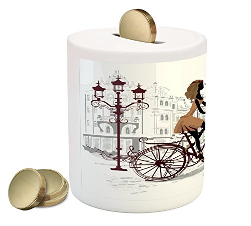 Ambesonne Teen Room Piggy Bank, Young Girl in Paris Streets with Bicycle French Style Display, Printed Ceramic Coin Bank Money Box for Cash Saving, Chestnut and Pale Brown Pearl