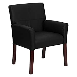 Flash Furniture Burgundy Leather Executive Side/Reception Chair with Mahogany Legs