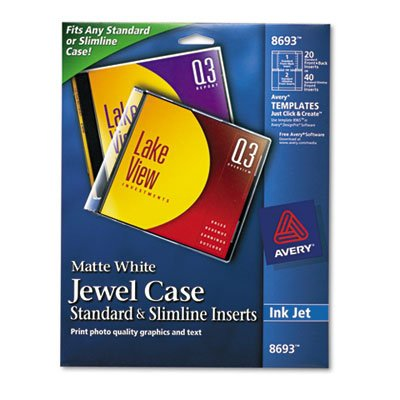 Inkjet CD/DVD Jewel Case Inserts, Matte White, 20/Pack, Sold as 20 (Jewel Case Inserts Pack)