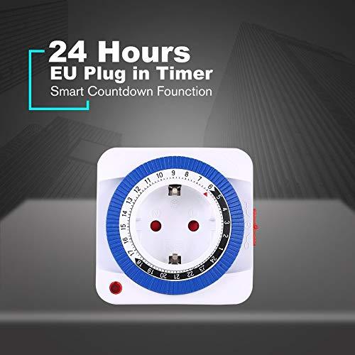 24 horas Enchufe Mec/ánico Interruptor de temporizador programable con conexi/ón a tierra Interruptor de cuenta regresiva inteligente Enchufe Auto apagado interior 230V