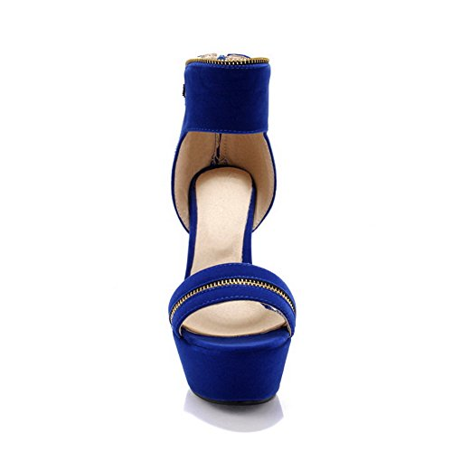 BalaMasa da donna Open toe Lace Up polka-dots tacchi alti sandali, Blu (Blue), 35
