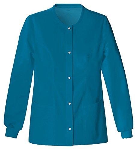 Cherokee Women's Slim-Snap Front Warm-Up Jacket_Caribbean Blue_Large,1330 ()