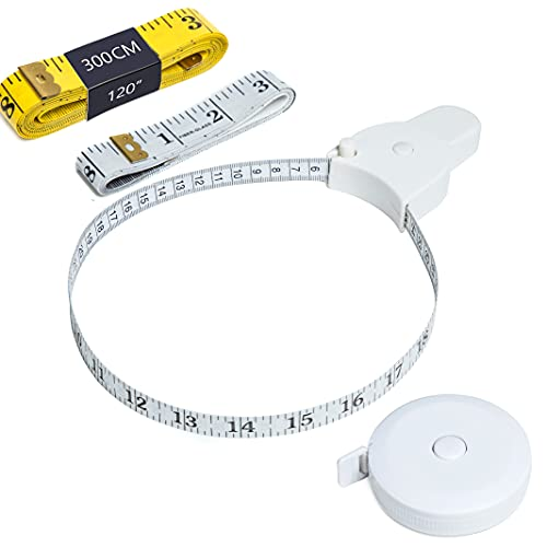 Harsgs 4 Pack Soft Tape Measure Set, Retractable Sewing Measuring Tape and Flexible Sewing Ruler Measuring Tape for Body Fabric Sewing Tailor Cloth Knitting Home Craft Measurements, White