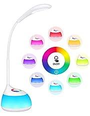 Lampada da Tavolo TOPELEK 16 LED, 3 Livelli di Luminosità, Luce 256 Multicolori Regolabile RGB Collo d'Oca Flessibile, Lampada LED da Scrivania Ricaricabile Per Bambini, Lettura, Studio,Lavoro, Riposo
