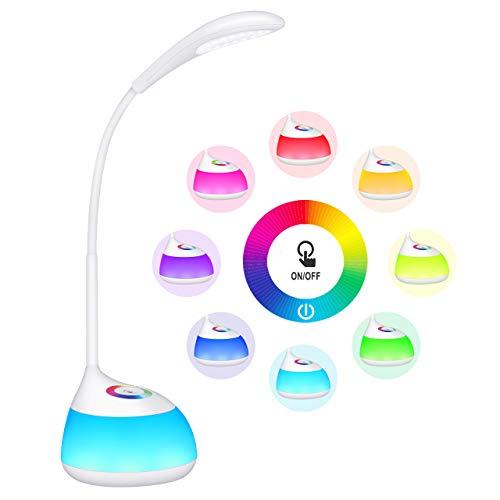 TOPELEK Lampara Escritorio 16 LED Infantil Recargable, Luz Nocturna con 256 Luces de Color, 3 Niveles de Brillo, Autonomia de 30H, Brazo Flexible, Control Tactil, Regalo para Ninos