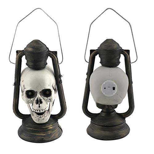 Fan-Ling 2019 LED Skull Lantern Glowing Eyes Creepy Hanging Lamp Halloween Decor Props,Hanging Skull Lantern with LED Light Halloween Decor (Antique Ribbon Plates)