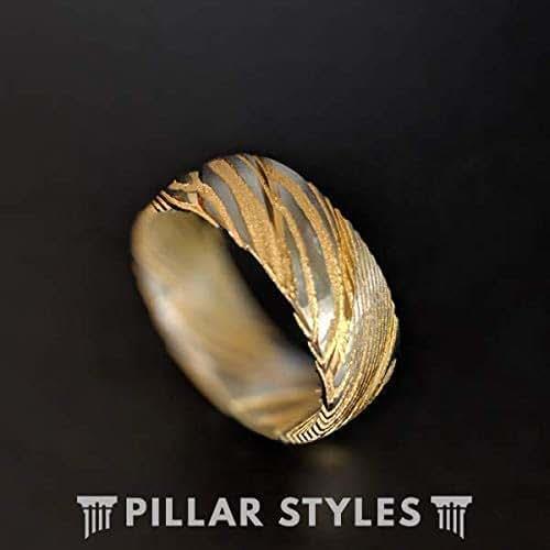 Amazon Com 14k Gold Damascus Steel Ring Mens Wedding Band 8mm