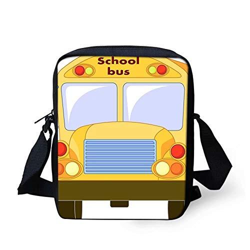 Sannovo School Bus Printing Women Travel Messenger Bags Boys Phone Bag Coin Purse