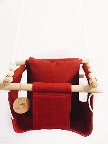Indoor/Outdoor Red Fabric Baby Swing by Sweet Swinging