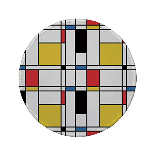 3 Mm Crossover - Non-Slip Rubber Round Mouse Pad,Abstract Home Decor,Geometric Colorful Pattern Crossover Decorative Rectangle Frame Window Art Decorative,11.8