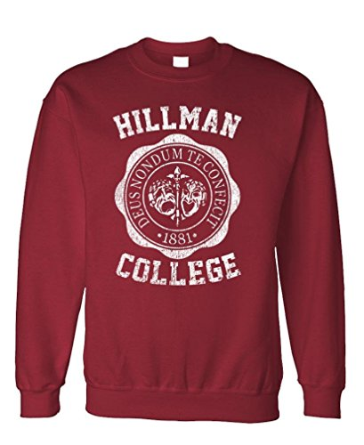 Hillman College - Retro 80s Sitcom tv - Fleece Sweatshirt, S, Maroon
