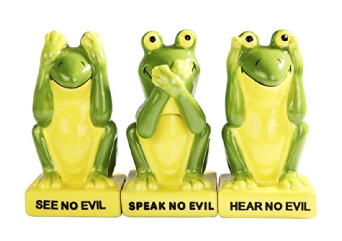 (Green Frogs Froggy See Hear Speak no Evil Ceramic Salt Pepper Shakers And Toothpick Holder Attractives Trio!)