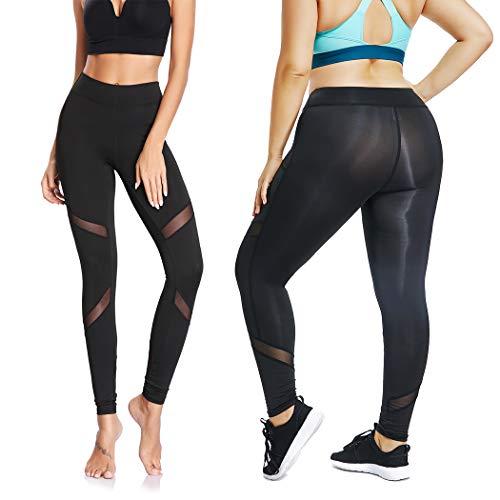 766d863856c01 Joyshaper Women's Mesh Panel Leggings with Pockets Skinny Stretch Workout  Yoga Pants Sport Capri Tights