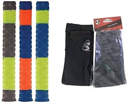 SG Cricket bat Grip (Pack of 3) and One Pair of Cricket Sleeve (Large) (Color On Availability)- Cricket Kit with Fast Delivery