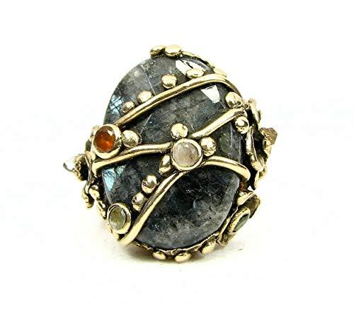 Organic Golden Bronze Ring-Labradorite.Tourmaline-Size -