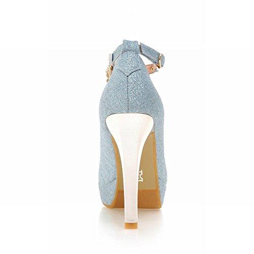 Tacco Alto Da Donna Elegante Con Paillettes Blu Cinturino Alla Caviglia
