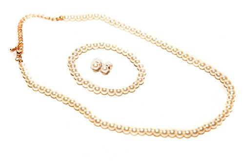 STStory USA Acrylic Pearl Jewelry Set [Necklace, Bracelet, Earrings][Simple/Ivory] for Girls (Simple Flowers Set)