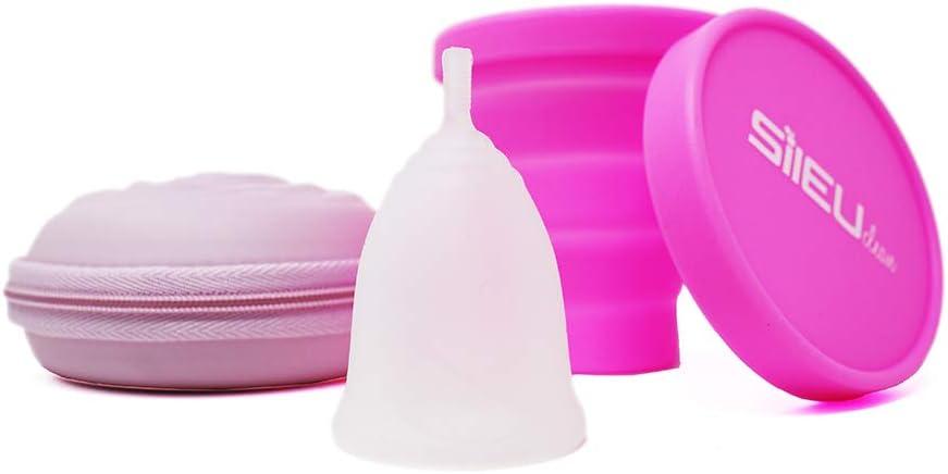 Pack Sileu Travel: Copa menstrual Rose - Modelo de iniciación - Talla S, Transparente, Flexibilidad Soft + Estuche de Flor Rosa + Esterilizador ...