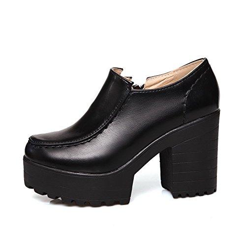 VogueZone009 Women's Solid Soft Material High-Heels Zipper Round Closed Toe Pumps-Shoes Black j6VcJtNO29