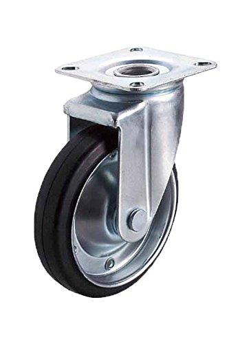 ユーエイキャスター:J2シリーズ J2型 自在キャスター ゴム(鋼板ホイル,B入)車 車輪径φ130 メーカー型式:WJ2-130