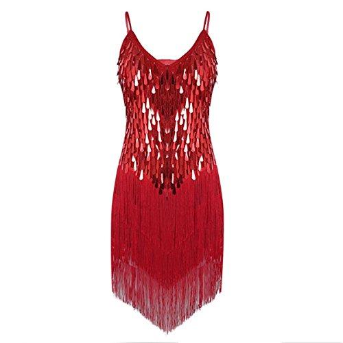 CHICTRY Women's Sequin Fringe Tassels Ballroom Samba Tango Latin Dance Dress Red One Size