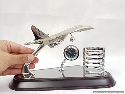 DiscountSellerUSA Executive Wooden Office Table Stationary Pens/Pencil Holder with elegant Roman Dial clock and Air Force Model Aircraft Stainless Steel, silver (Silver Executive Dial)