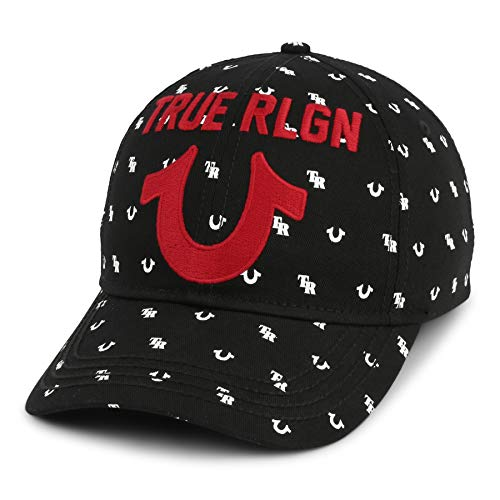 True Religion Men's Monogram Horseshoe Cap, Black,One Size Fits All