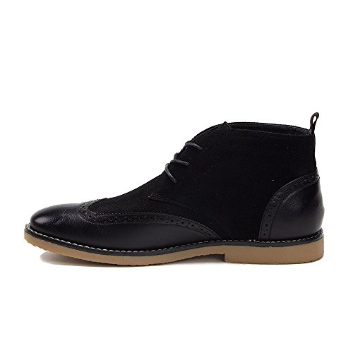 Mens B-1603 Wing Tip Combined Perforated Lace Up Ankle Dress Boots Black 2Jyp15