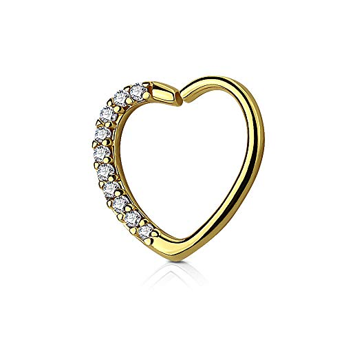 Dynamique Lined CZ Set Heart 16G Ear Cartilage/Daith Hoop Ring (Sold Per Piece)