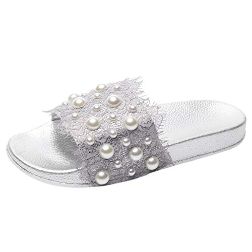 - Sunhusing Ladies' Lace Pearl Beading Embellished Decorative Home Slippers Outdoor Beach Soft Sole Slippers Silver