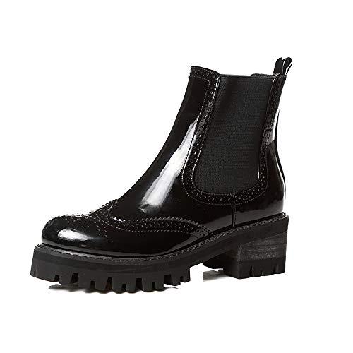Women's Leather Boots Plus Velvet Martin Boots(Black 1 velvet-35/4.5 B(M))