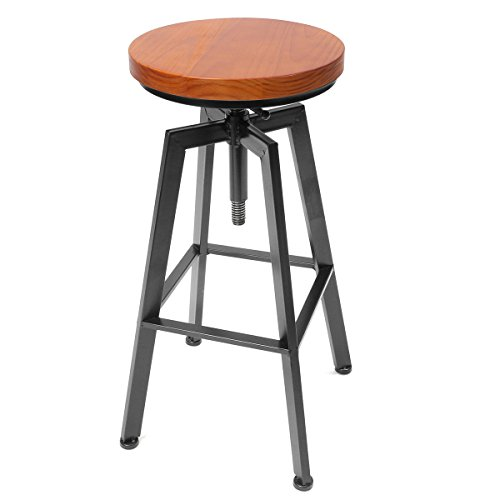 Caveen Vintage Retro Bar Stool Industrial Steel Home Kitchen Cafe Seat Bar stool Swivel Chair (No Bar Stools Swivel)