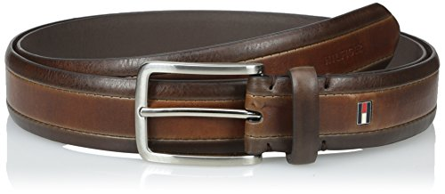 Tommy Hilfiger Men's Big & Tall Two-Tone Dress Belt with Brushed Nickel (Brushed Nickel Buckle)