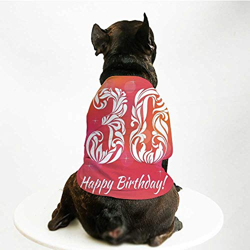 YOLIYANA 30th Birthday Decorations Stylish Pet Suit,30 Years Birthday Theme Decorative Font Floral Elements for Small Medium Big Dogs,L ()