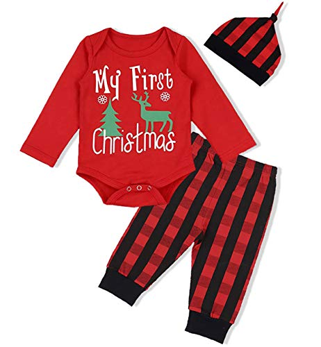Infant Baby Boys Girls 3Pcs Christmas Outfit Set My First Christmas Romper Tops Striped Pants with Hat Xmas Clothes Sets (Red +Black, 0-6 Months) -
