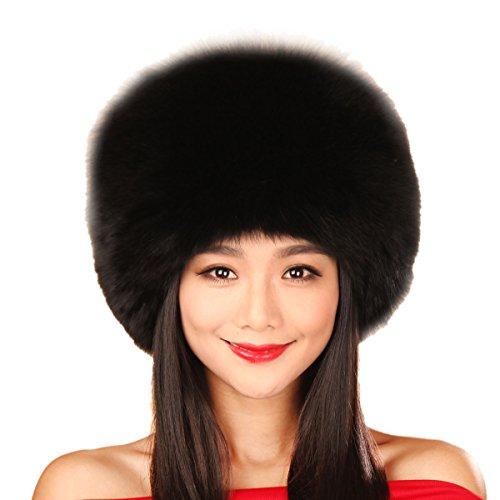 URSFUR Black Fox All Fur Zhivago Pill Box Fur Hat with Fox Tail (Black)