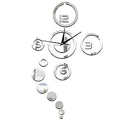 Nikuya Circles Mirror Modern Design Home Decor Watch Wall Sticker 80x40cm /31.4 x 15.7inch(approx) (A)