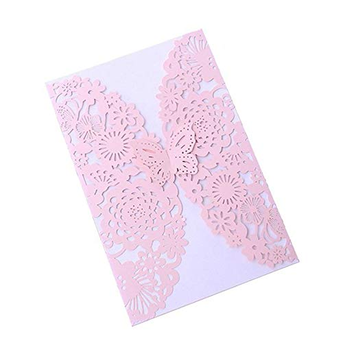 20pcs Butterfly Hollow Wedding Invitation Cards Card Paper and Cover Kit for Wedding Birthday Shower Party Decoration