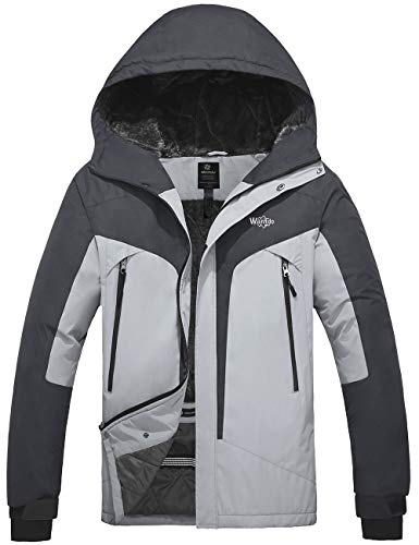 Wantdo Men's Warm Snowboard Jacket Hooded Rainwear Windproof Sportswear Grey M best to buy