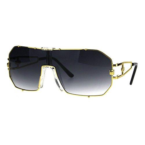 Mens Metal Rim Mob Shield Aviator Racer Sunglasses Gold - Aviator Gold Sunglasses Rim