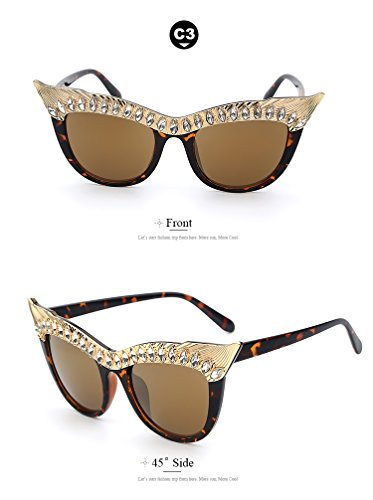 Crystal Stone Oversized Cat Eye Frame Women Sunglasses Brands Designer Sexy Female Fashion - Frames Wood Cartier