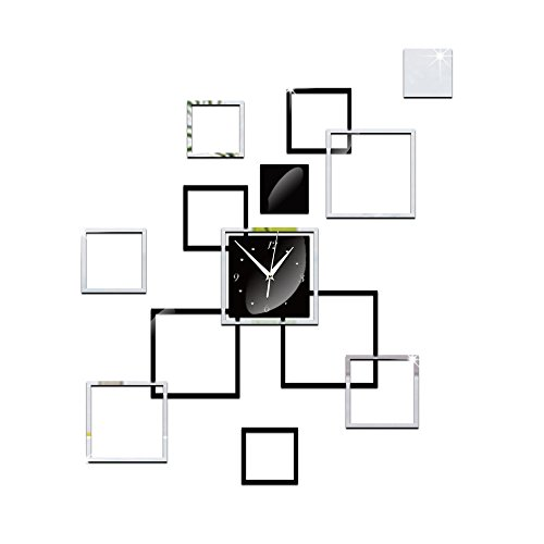 Newkelly Modern DIY Home Office Mirror Wall Clock Stickers Decal Art Acrylic Room ()