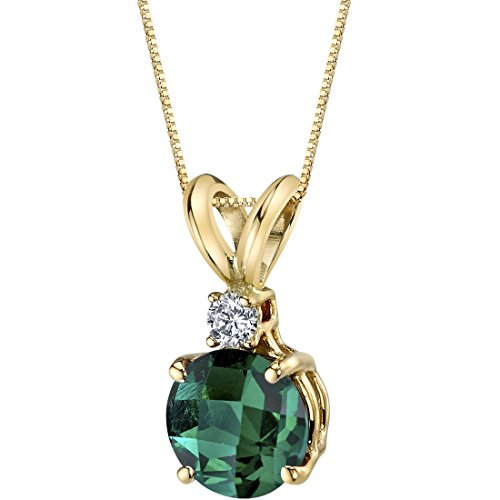 Round Created Emerald Pendant - 14 Karat Yellow Gold Round Cut 1.00 Carats Created Emerald Diamond Pendant
