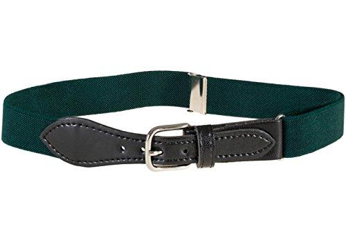 Green Kids Belt (Kids Elastic Adjustable Belt with Leather Closure - Hunter Green)