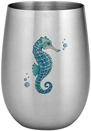 Supreme 18 8 Stainless Steel Seahorse 20 oz. Full Color Printed Stemless Wine Glass Unbreakable and Shatterproof Metal for Wine, Beverage, Champagne, Cocktails and Beer