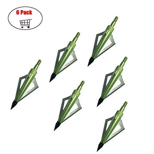 6 pack Arrow Broadheads 3 Blades Archery Arrow Heads Tips 100 Grains for Crossbow and Compound Bow