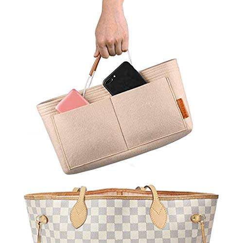 (FOREGOER Felt Purse Insert Handbag Organizer Bag in Bag Organizer with Handles (Large, Beige))
